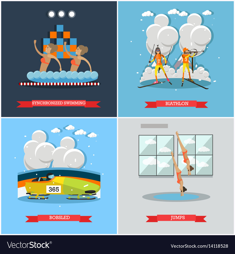 Set of winter and water sports concept flat
