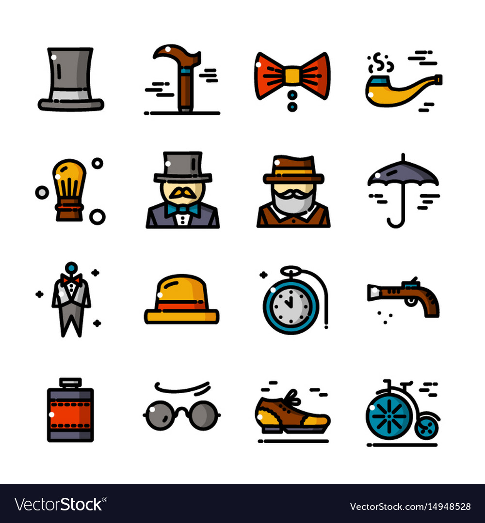 Thin line gentleman icons set