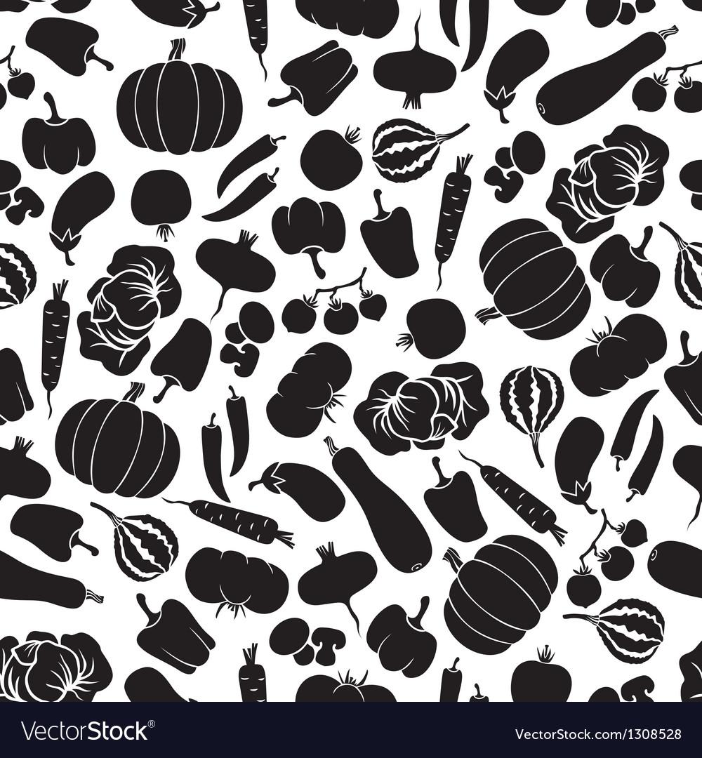 Vegetables pattern black vector image