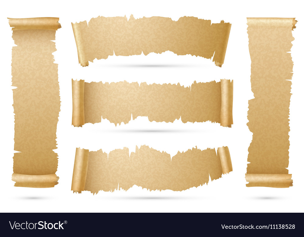 Vertical And Horizontal Old Paper Scroll Ribbon Vector Image