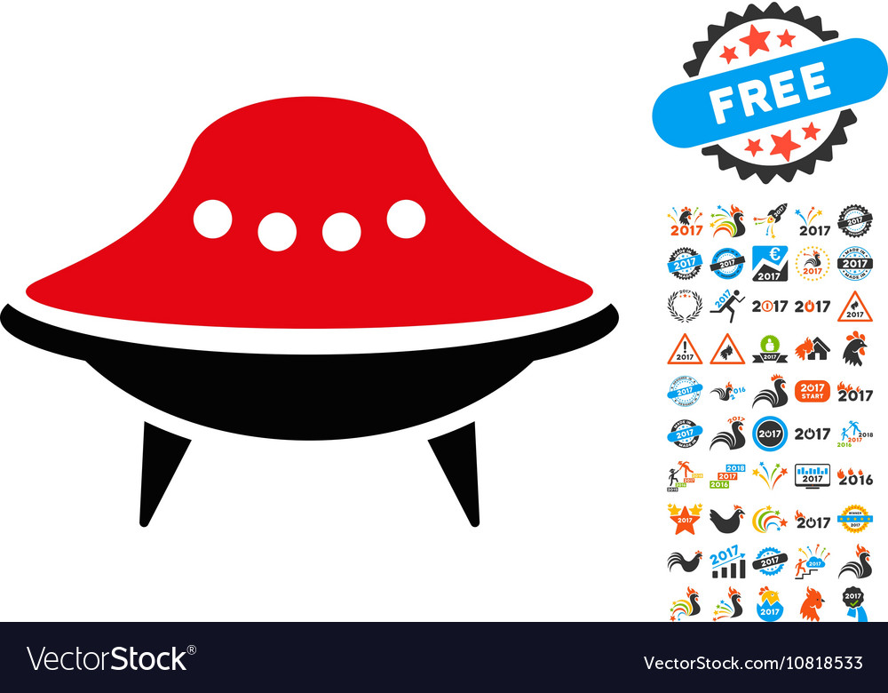 Alien Spaceship Icon With 2017 Year Bonus Vector Image
