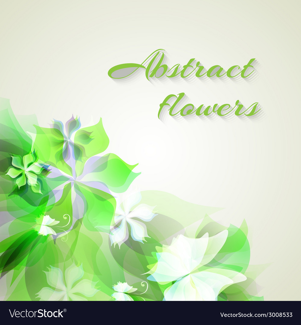 Background with light green abstract flowers