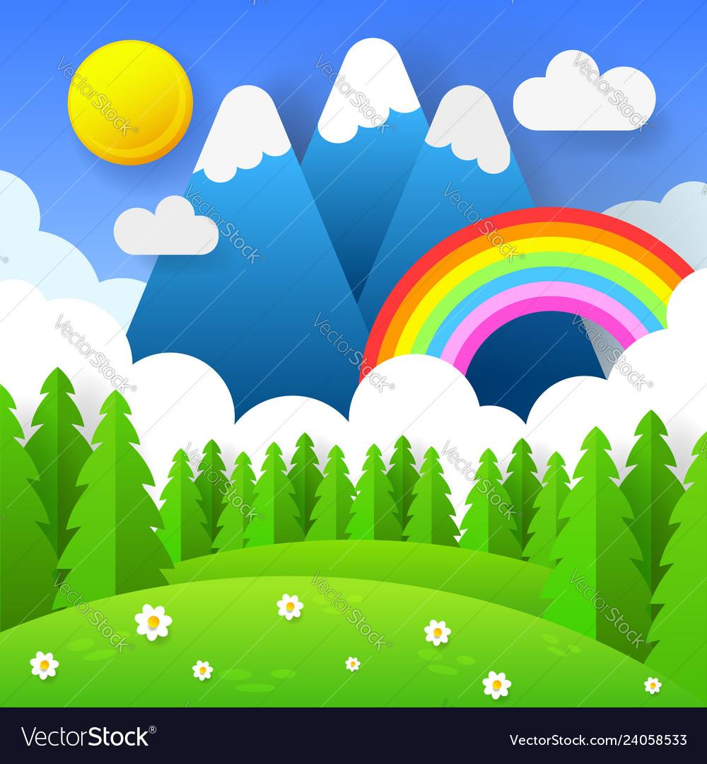 Beautiful seasonal background with bright rainbow