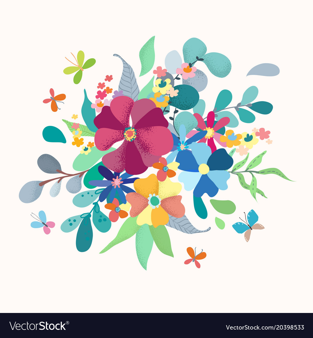 Floral Bouquet With Simple Color Flowers Vector Image