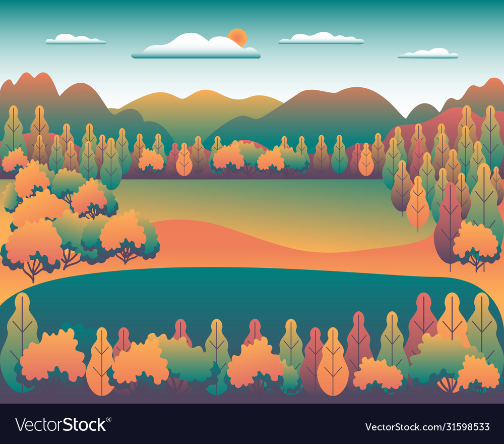 Hills and mountains landscape in flat style