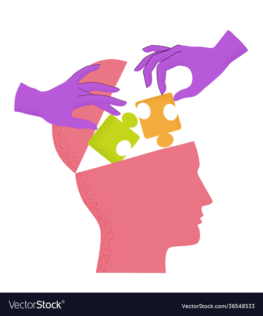 Human head silhouette with hands putting puzzle