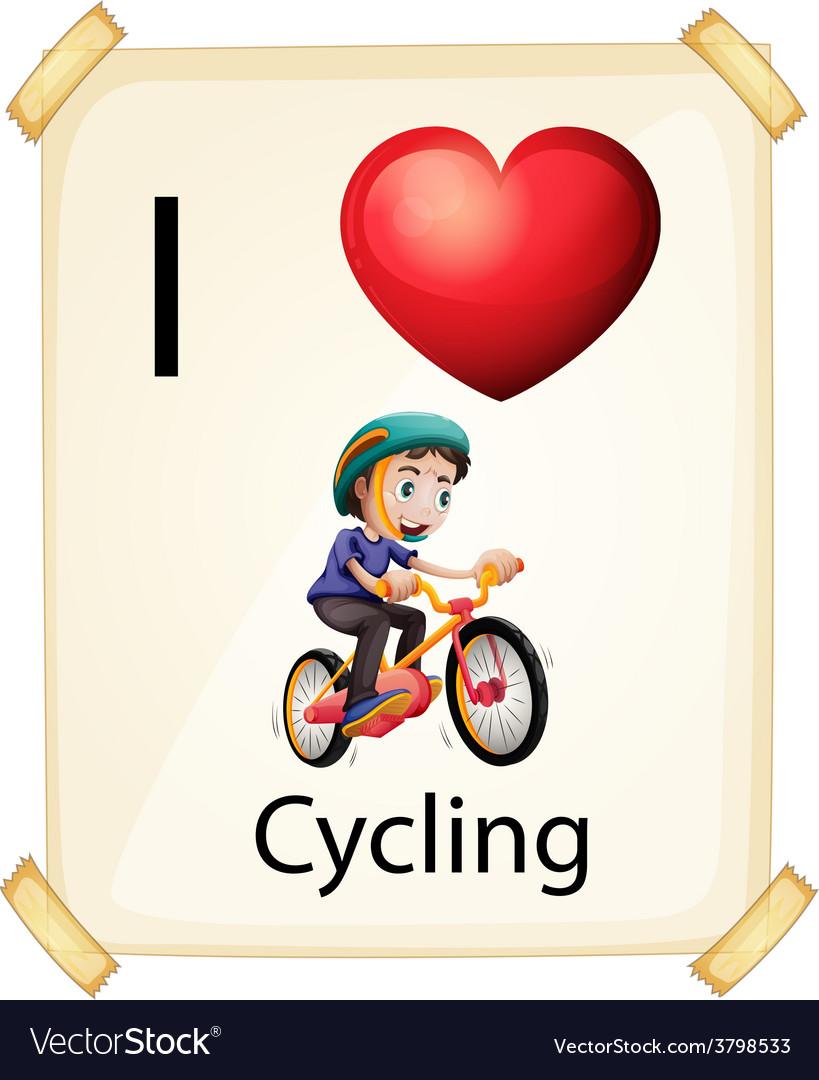 I Love Cycling Royalty Free Vector Image Vectorstock