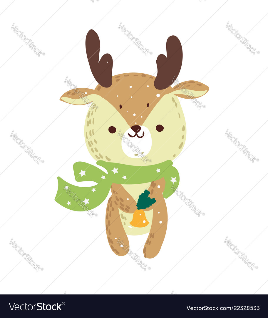 Merry christmas holiday graphic cute deer with co