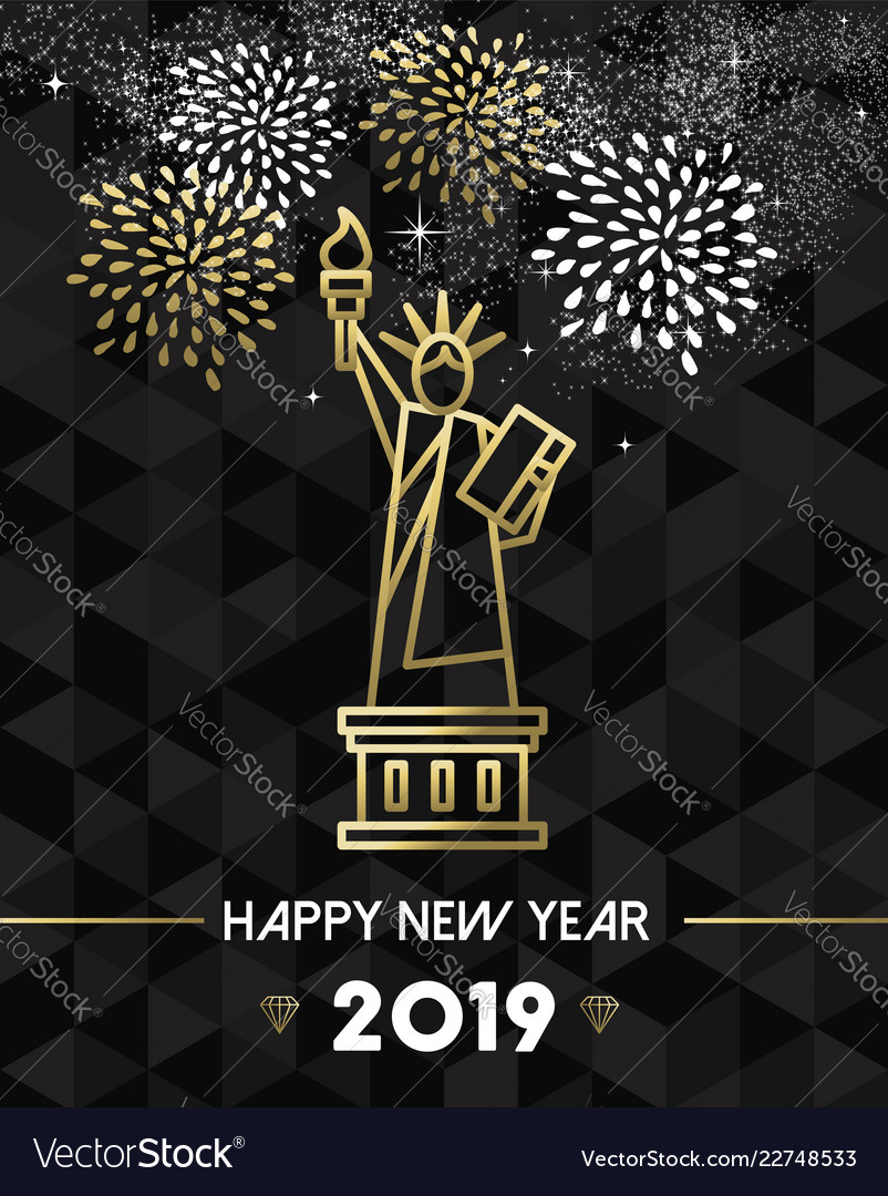 new year 2019 nyc usa travel statue liberty gold vector image