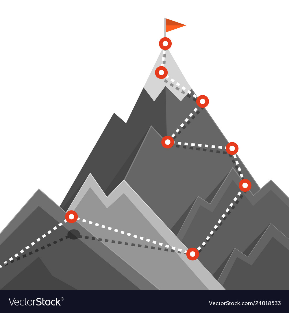 Path to mountain top success jurney concept