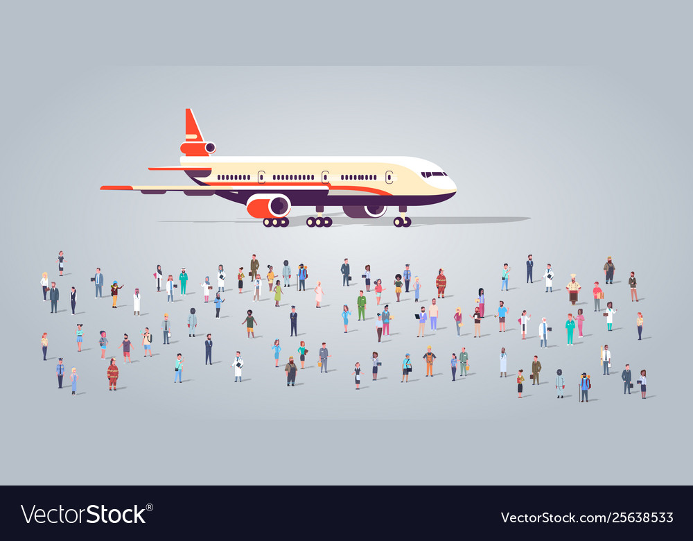 People group on airport terminal with aircraft