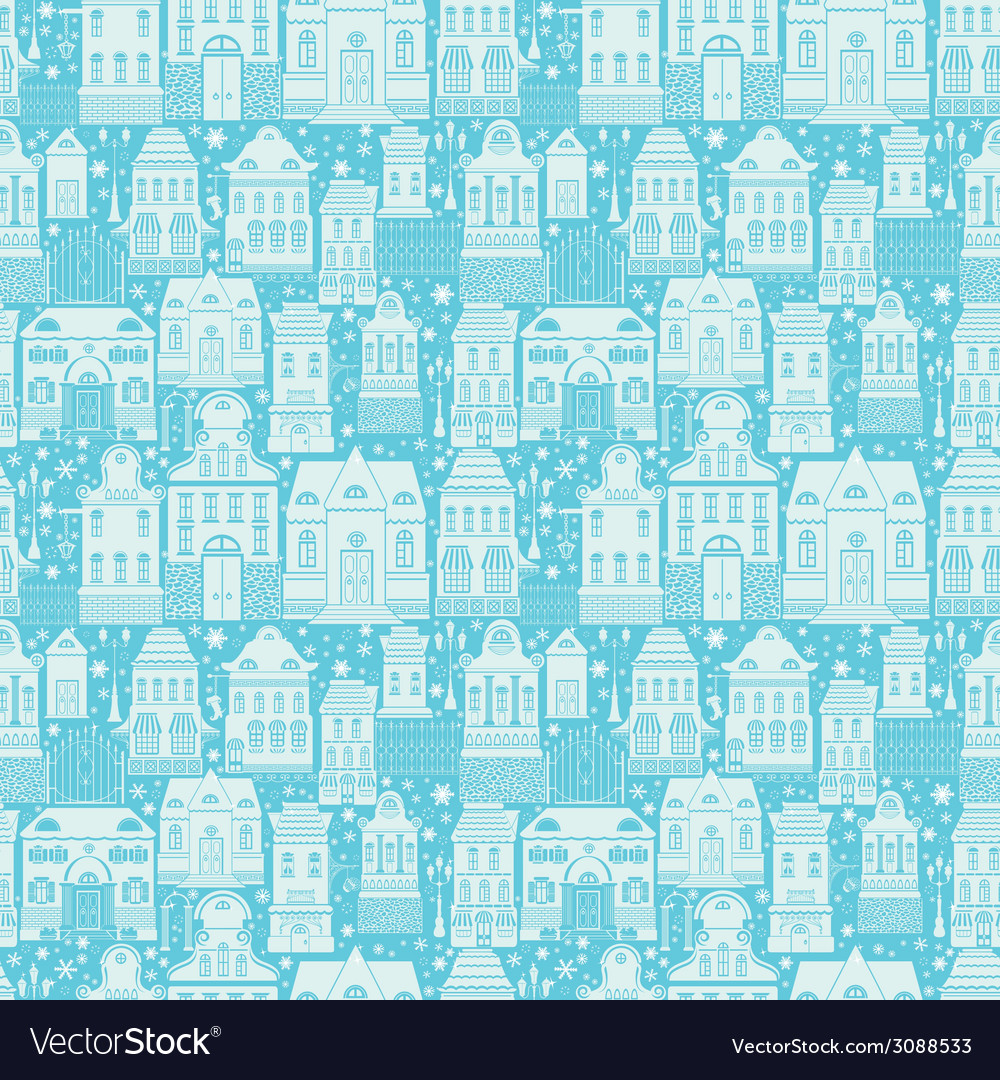 Seamless pattern with fairy tale houses lanterns t