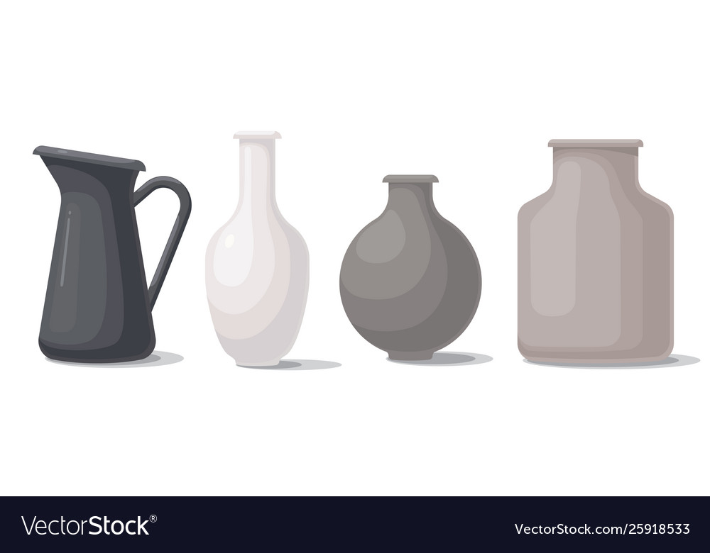 Set vases different shapes and colors