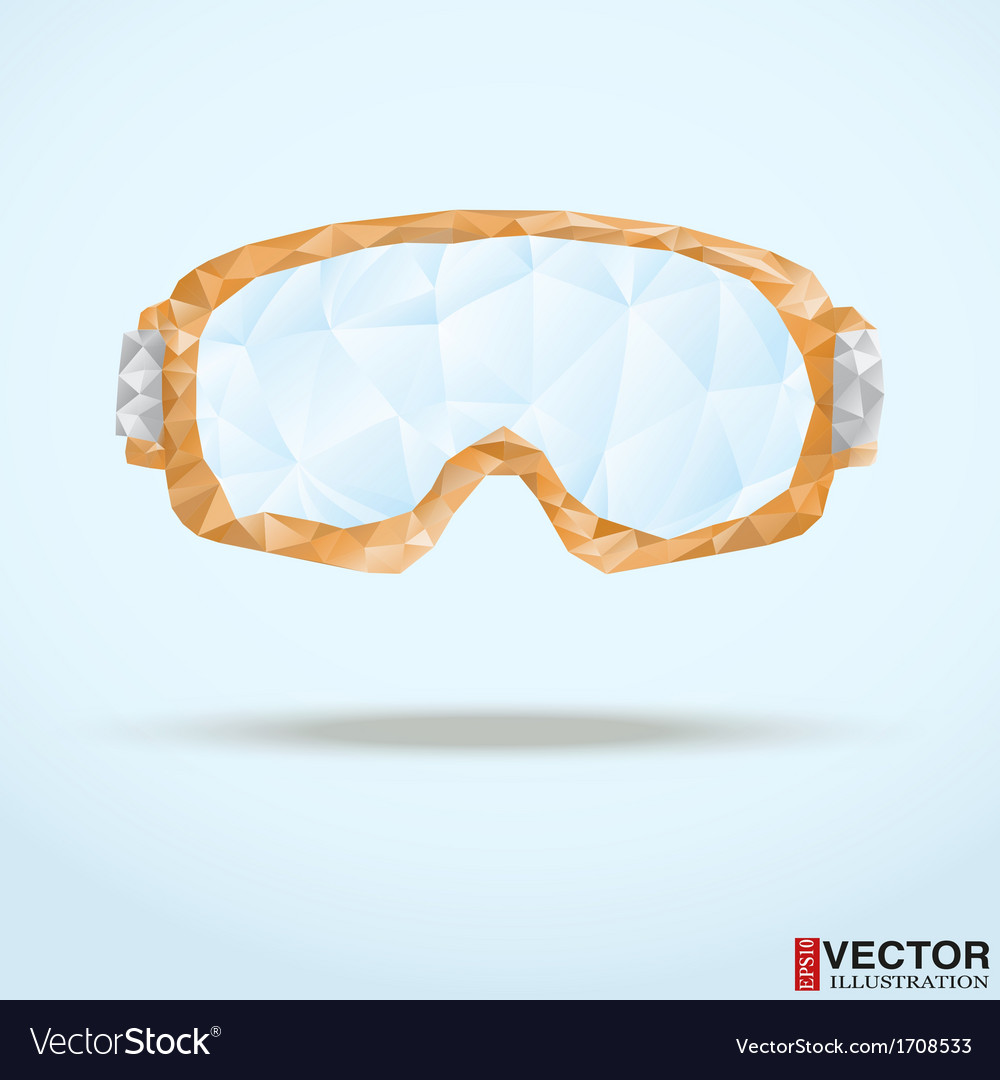 a258b4061f5 Ski goggles with reflection of mountains Vector Image