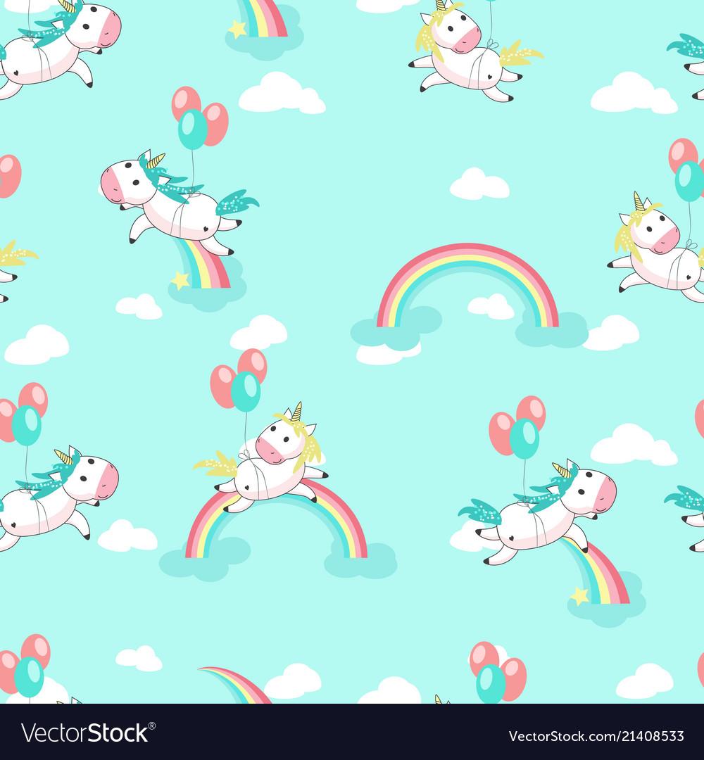 Unicorns with balloons seamless pattern