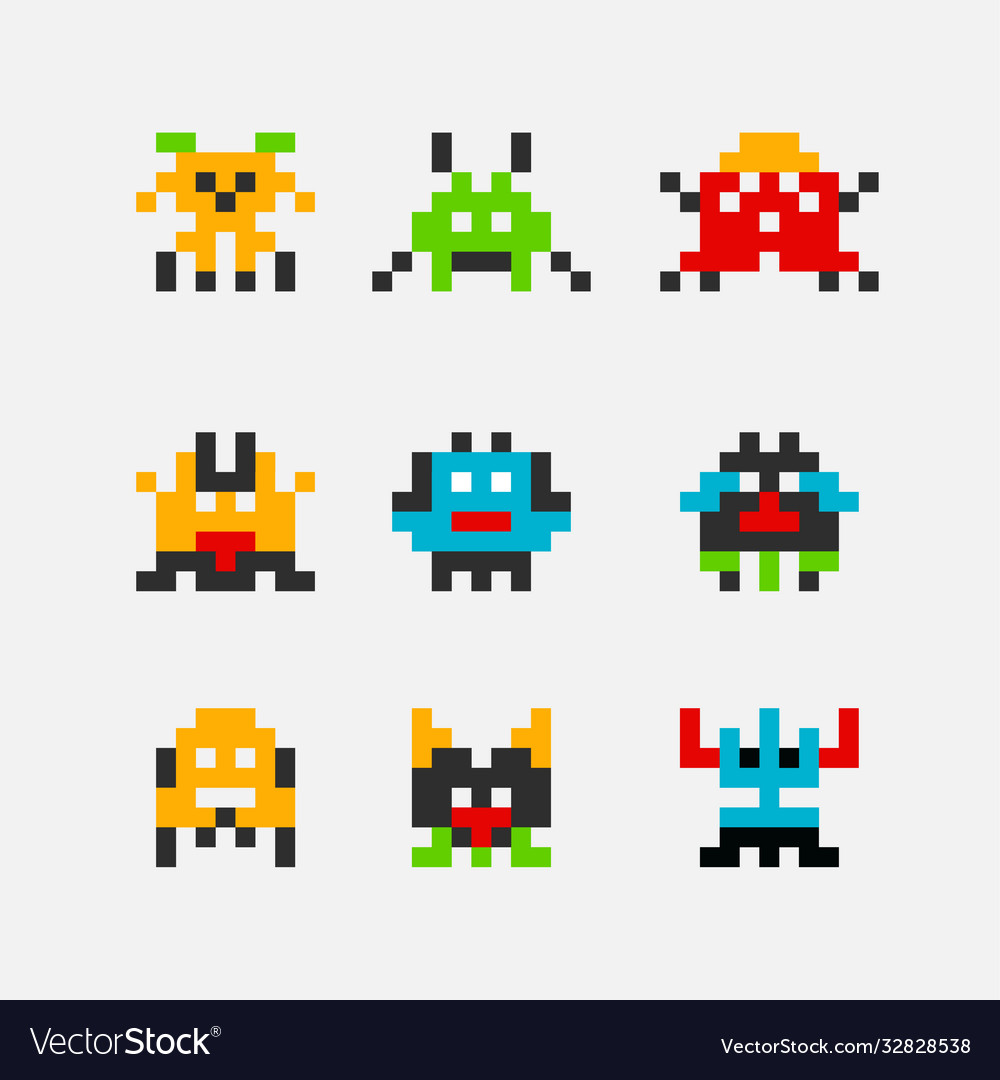 8 bit pixel arcade game alien invader superhero