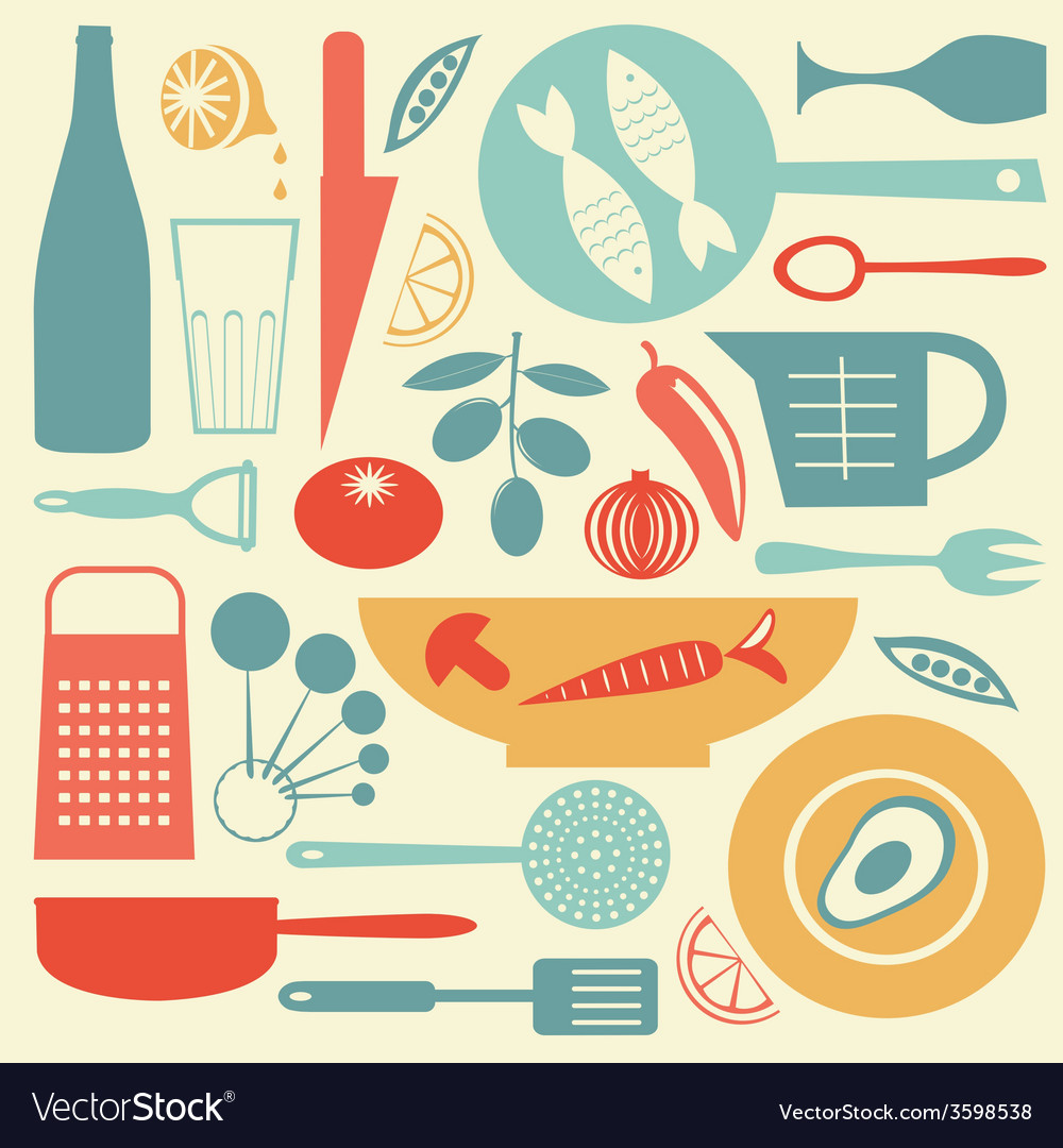 A stylish colorful kitchen collection vector image