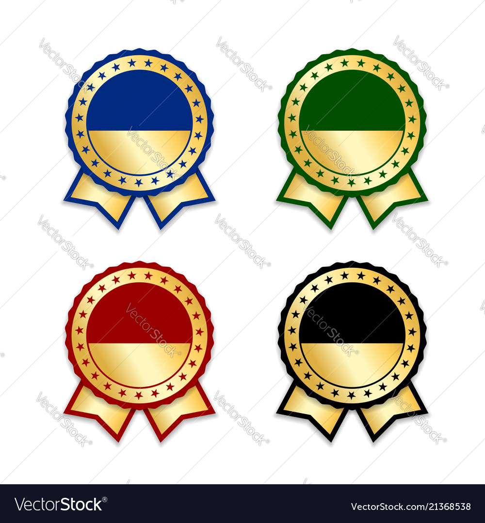 Award ribbons isolated set gold design medal