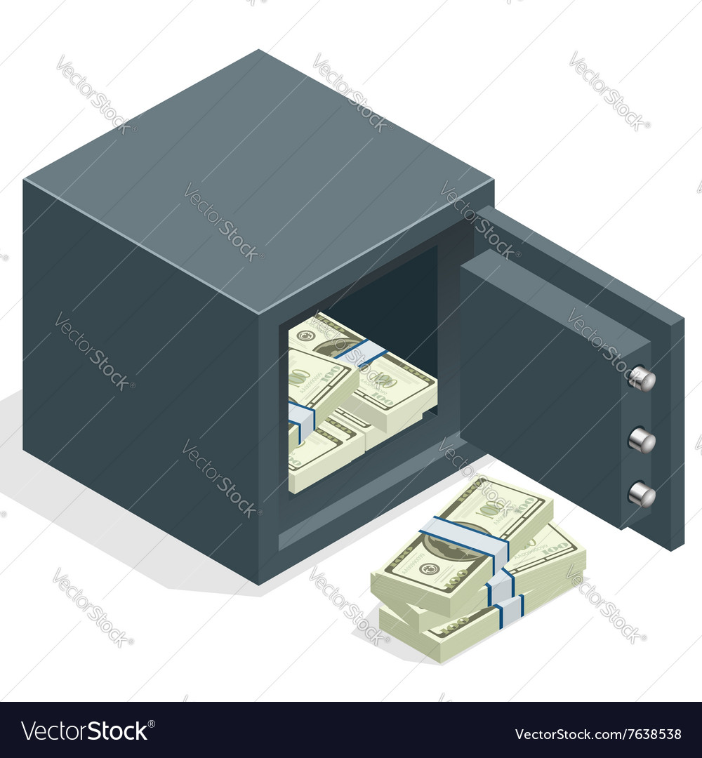 Bank safe with money dollar stacks Safe open with