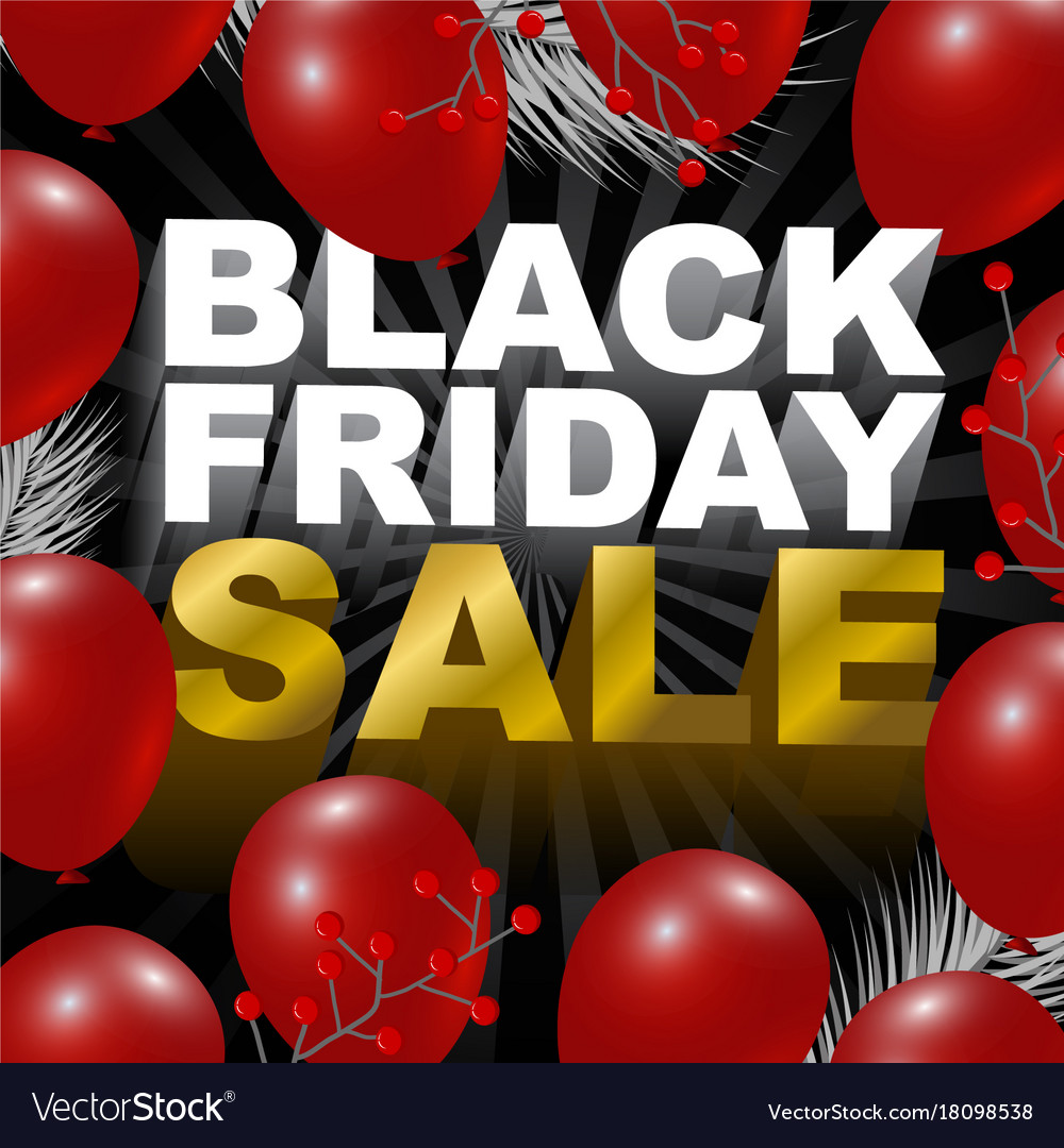 Black friday sale design of red balloon background