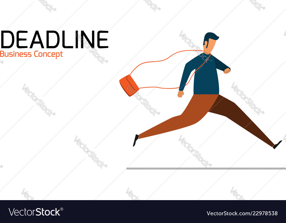 Businessman running management time in deadline