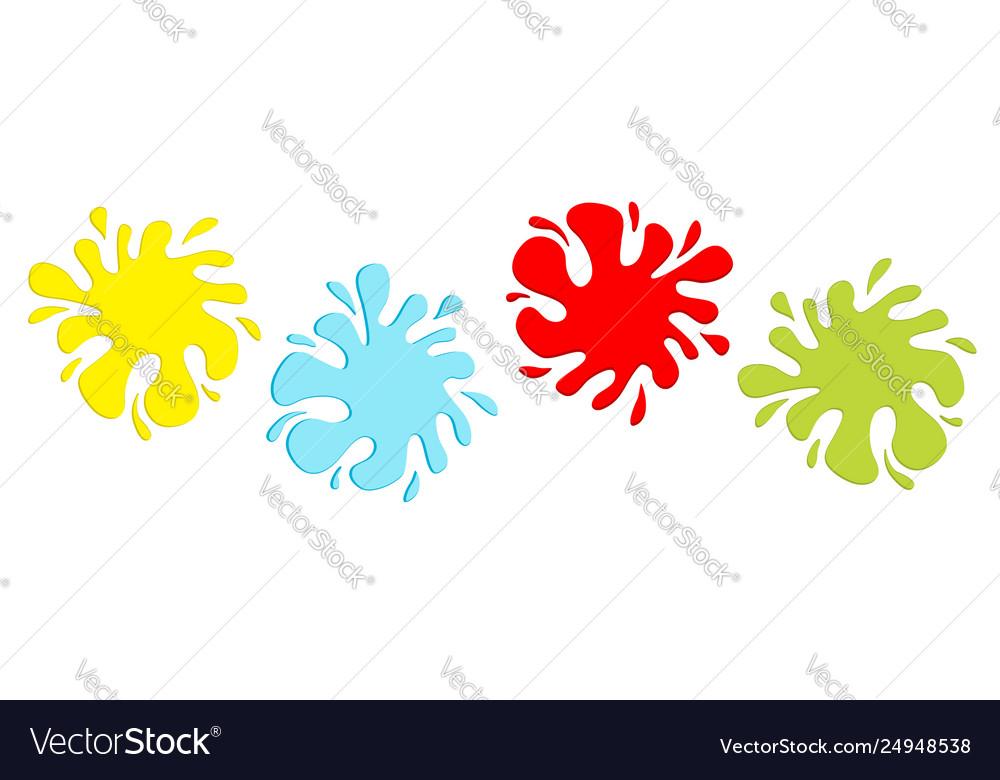Colorful blot splash icon set line inkblot flat