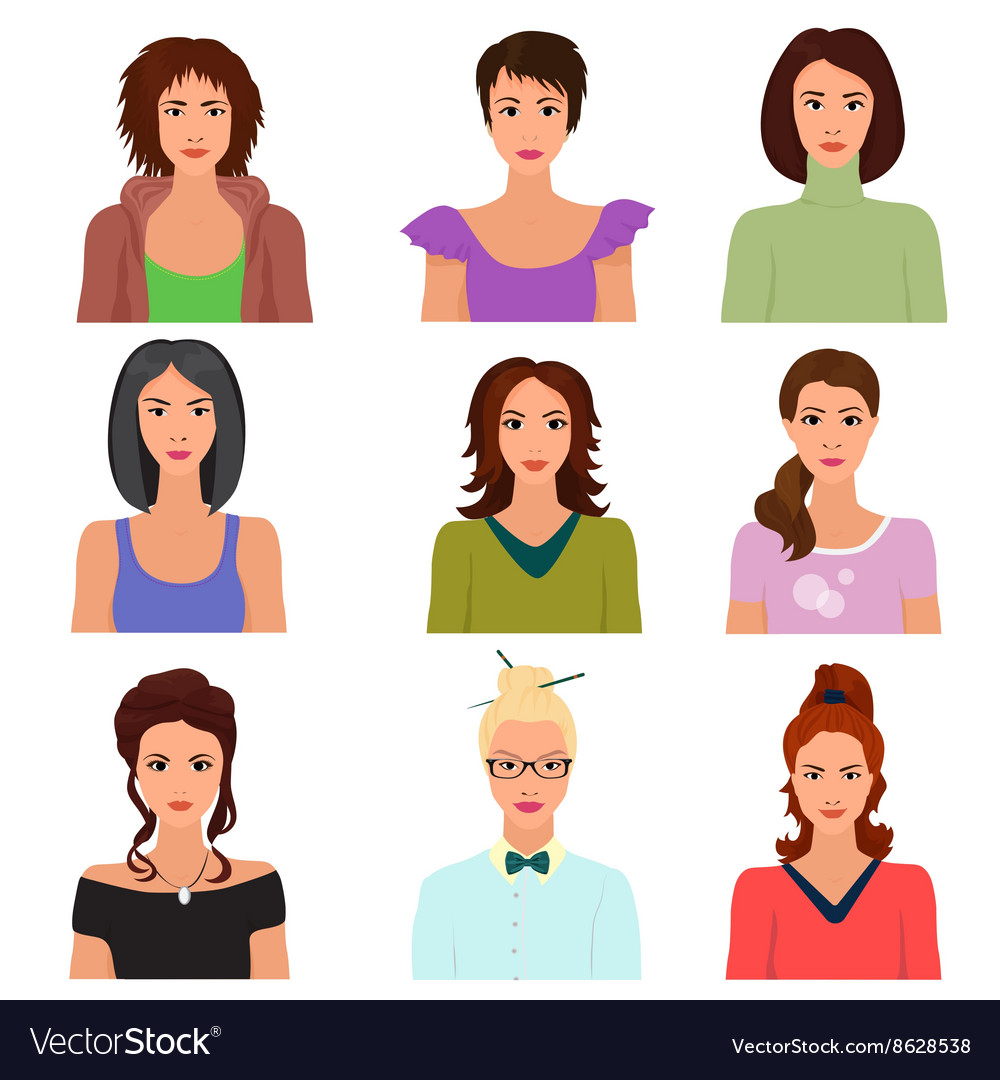 Female woman character faces avatars in