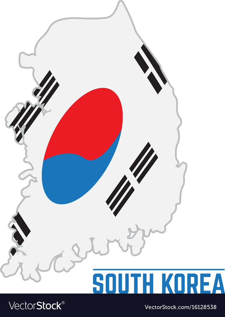Flag and map of south korea
