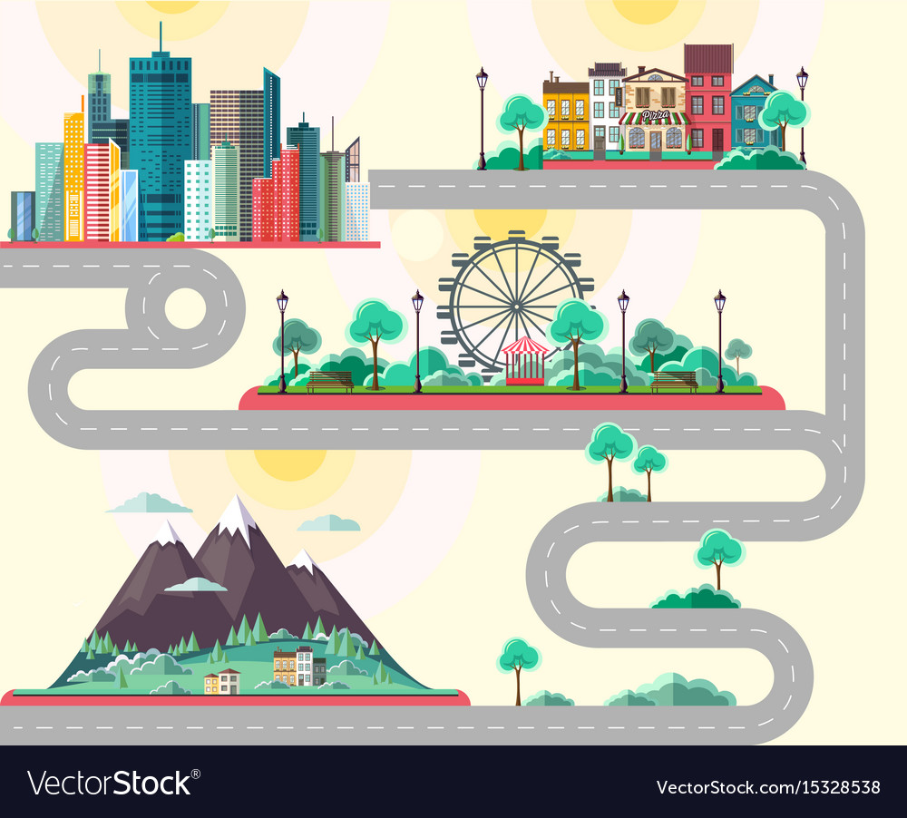 Flat design of modern city mountains landscae