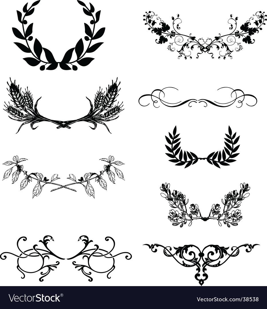 Floral frame elements vector image