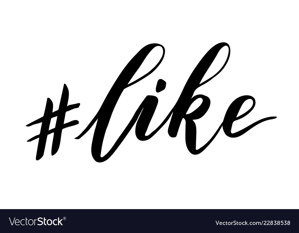 Hashtag like brush calligraphy Royalty Free Vector Image