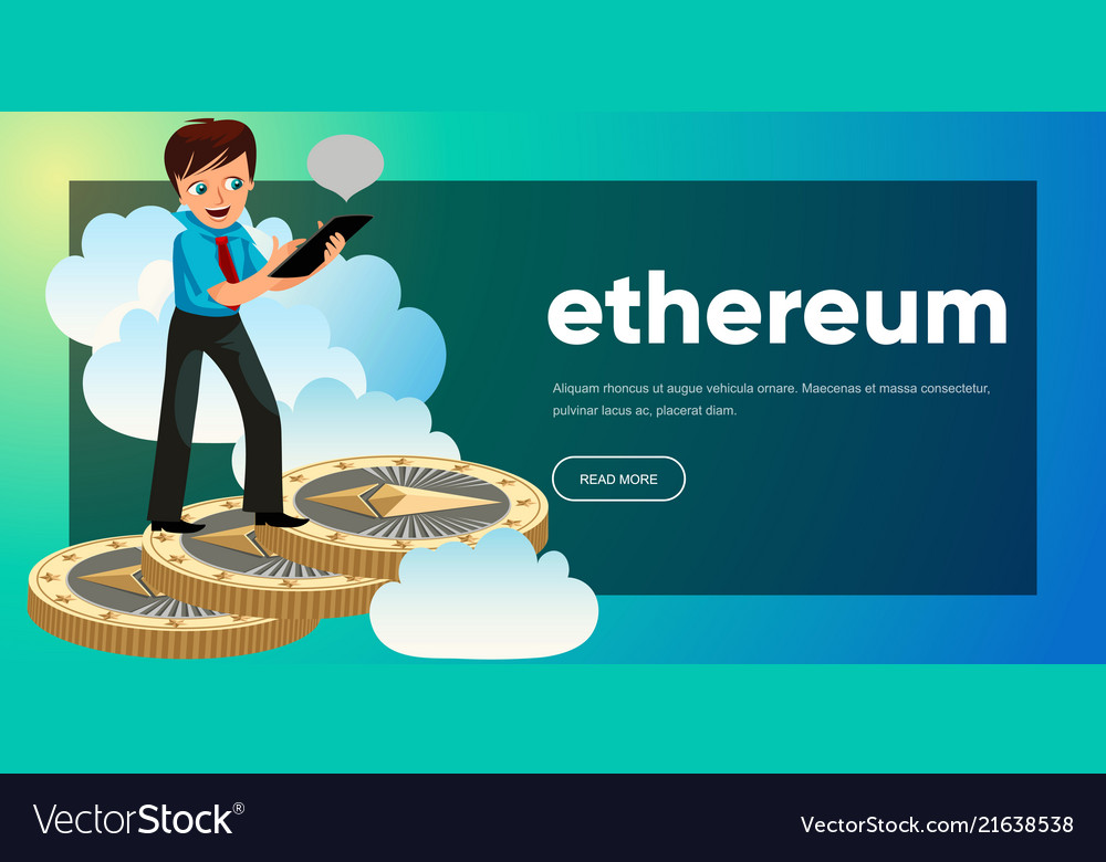 Man rising up to clouds on ethereum coins