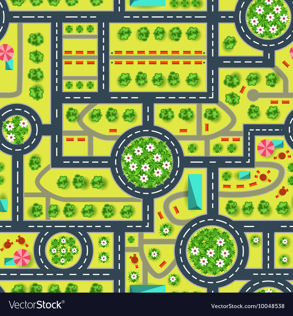 Map of a top view from the city Road and trees