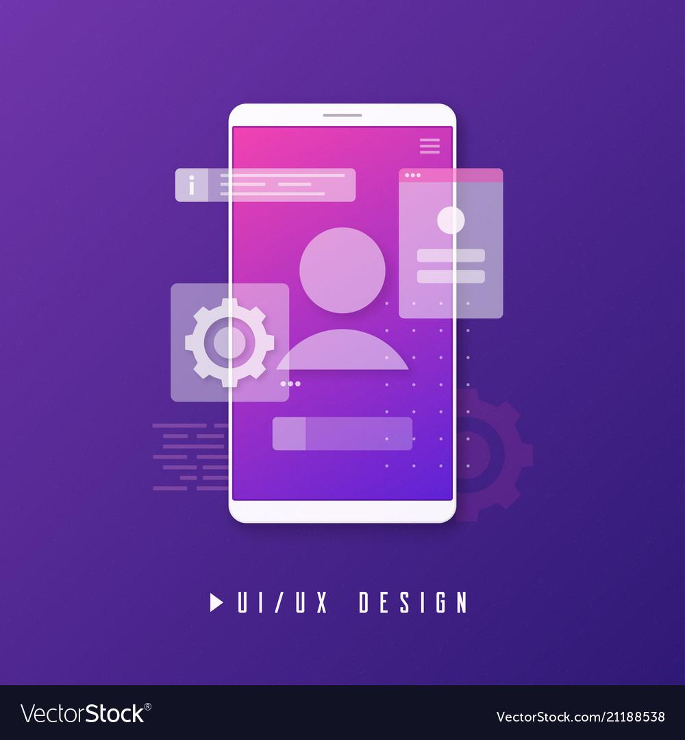 Mobile ui ux design app development concept