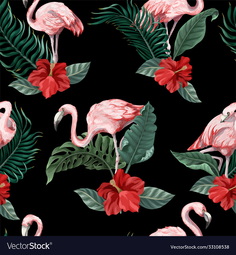 Seamless pattern with pink flamingo flowers