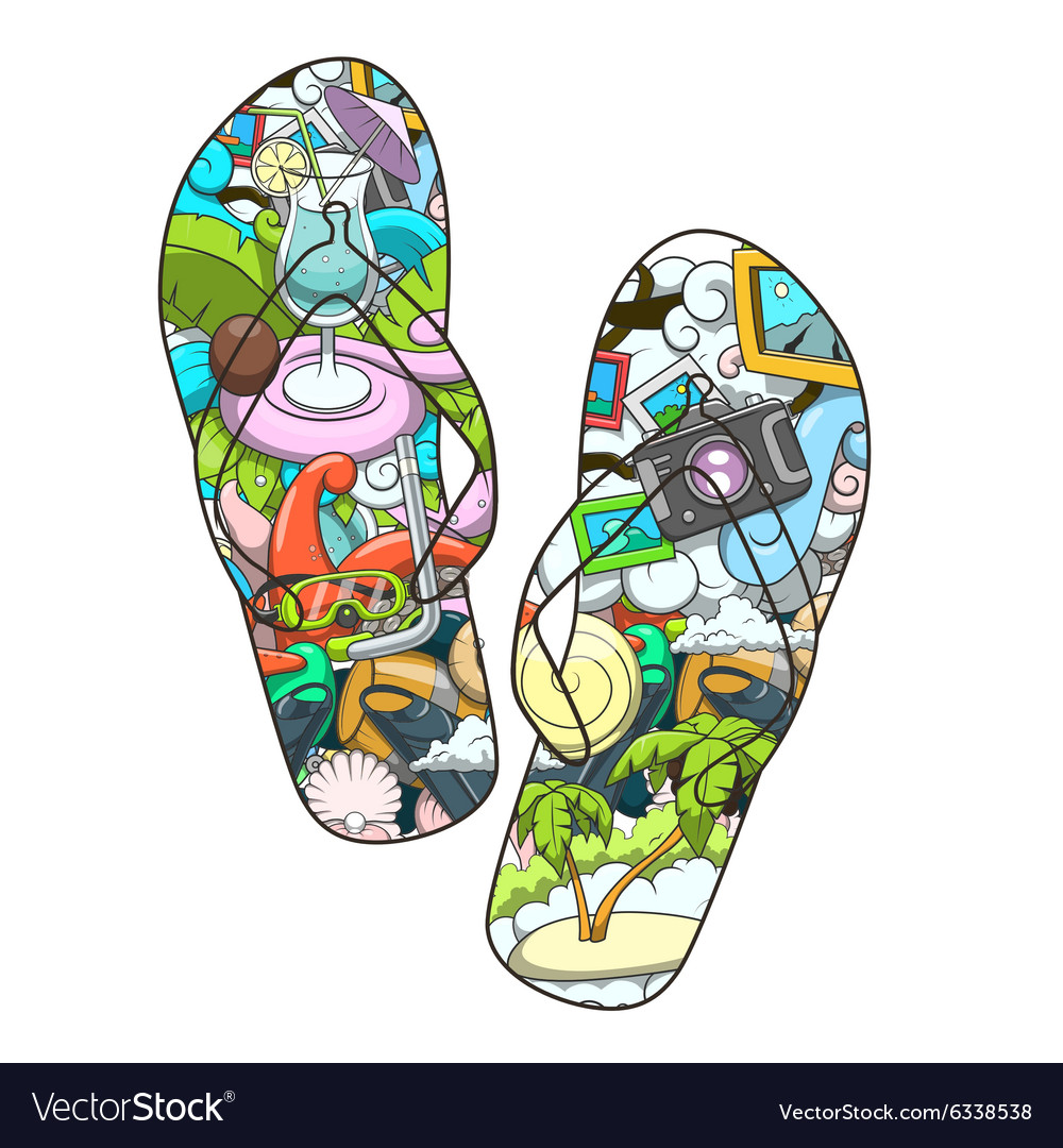 Summer slippers abstract design
