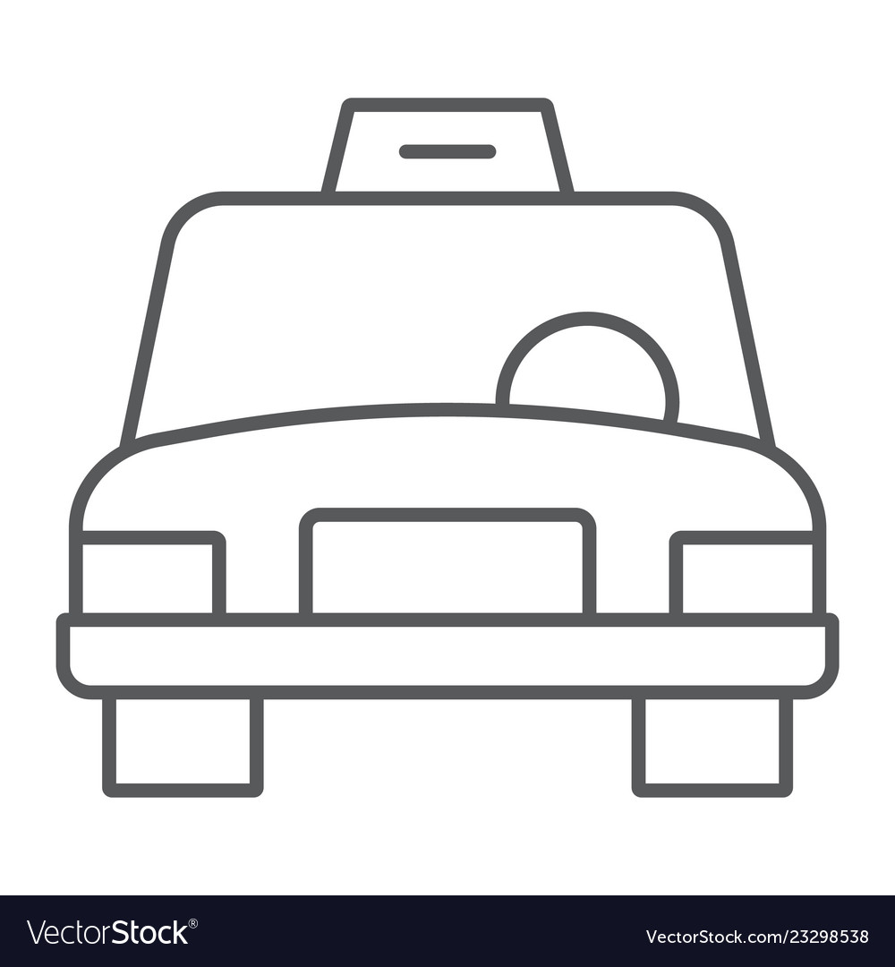 Taxi thin line icon traffic and car cab sign