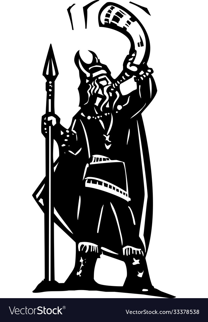 Viking blowing war horn