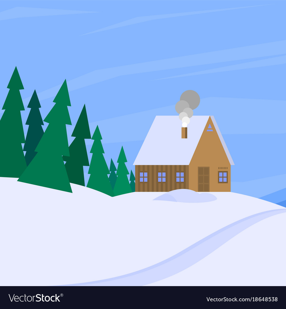 Winter landscape with christmas tree mountain