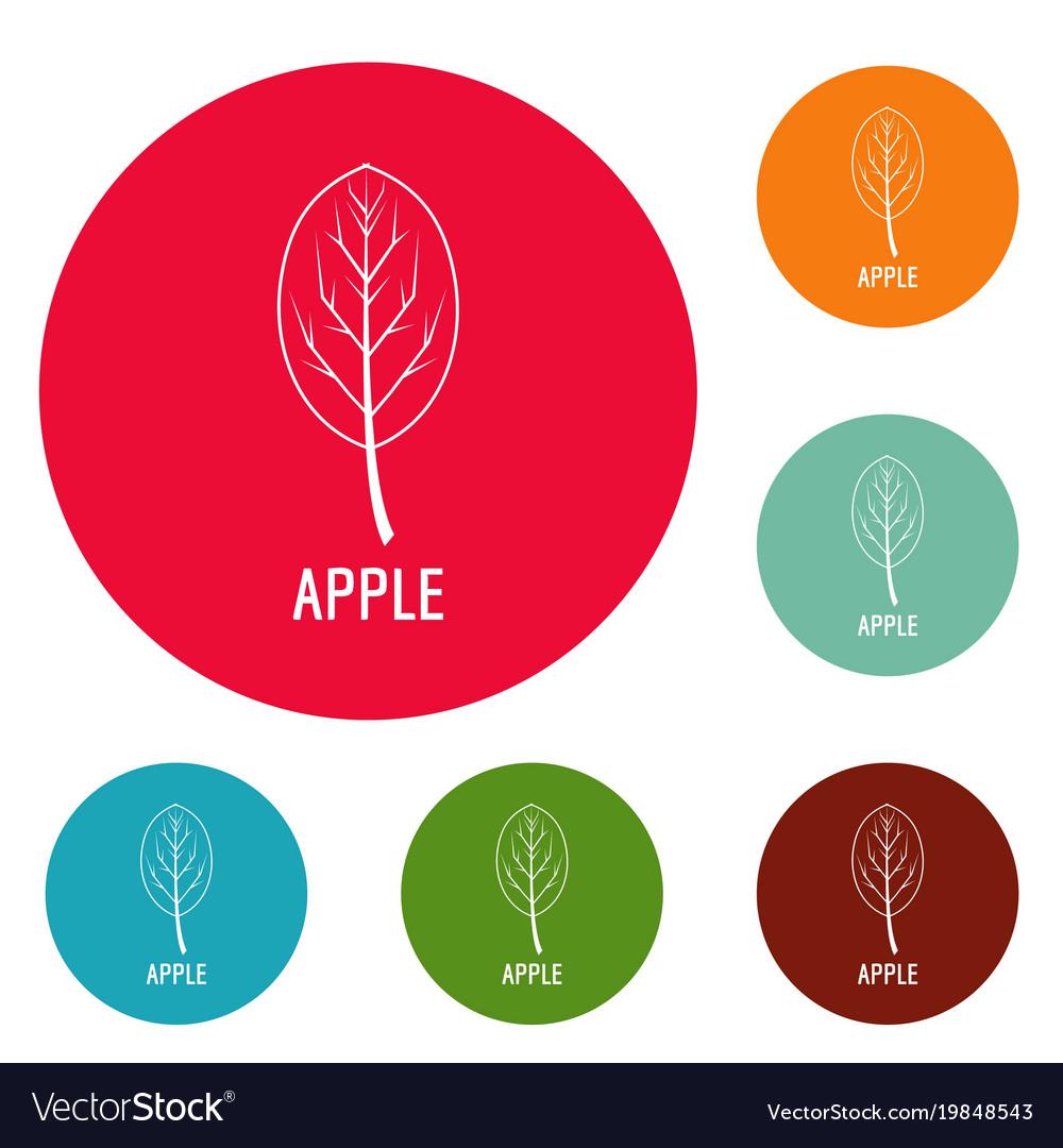 Apple leaf icons circle set