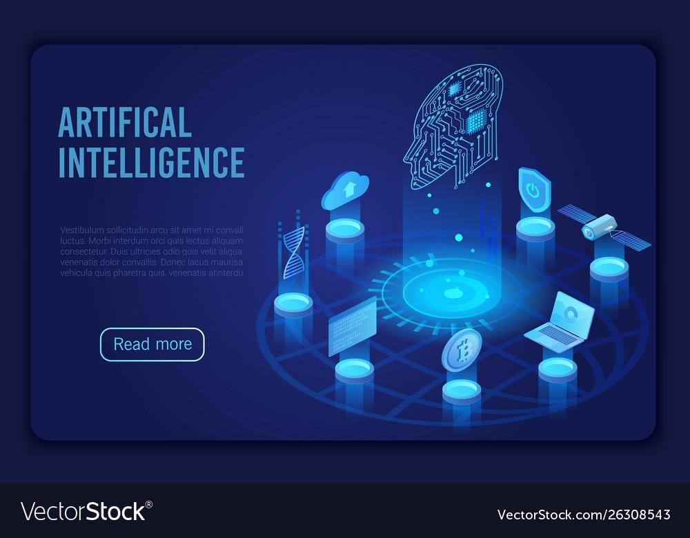 Artificial intelligence dark neon light landing