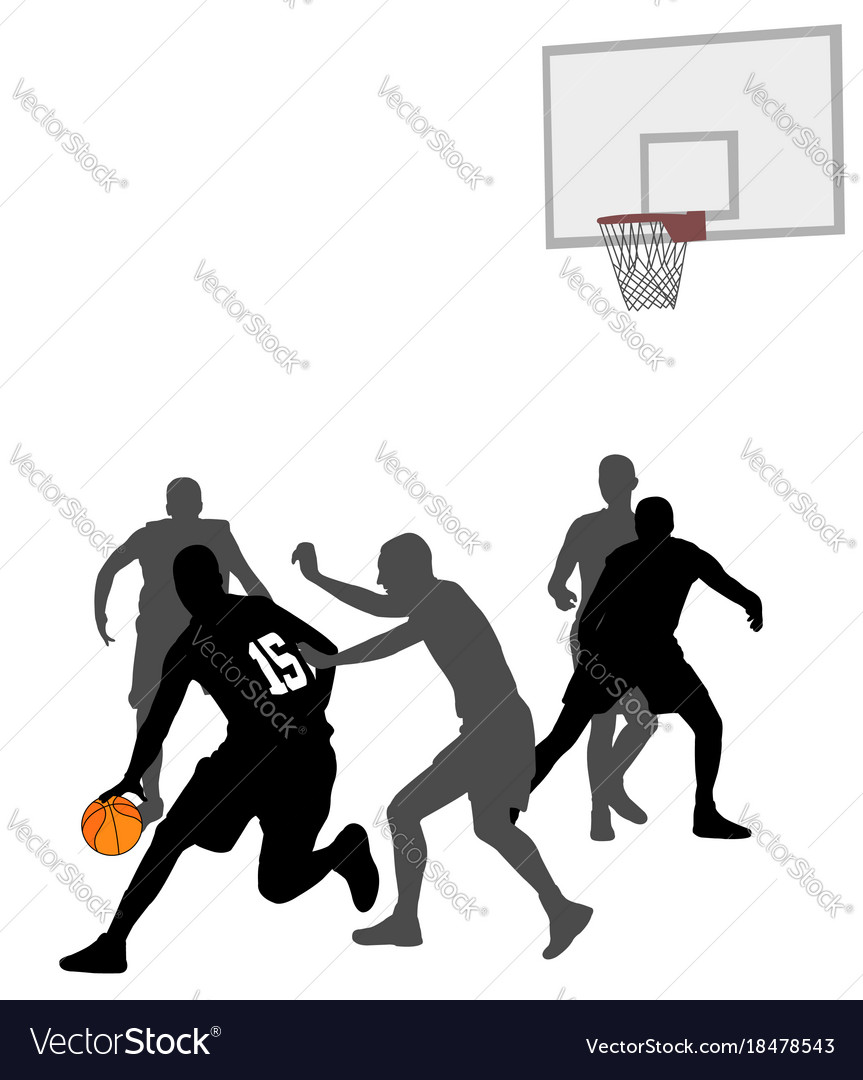 Basketball Game Silhouettes Royalty Free Vector Image