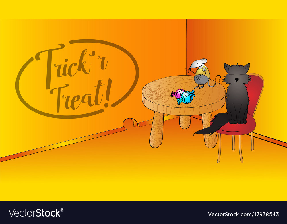 Halloween 2020 Funnyscene Halloween funny scene with blackcat and mouse and Vector Image