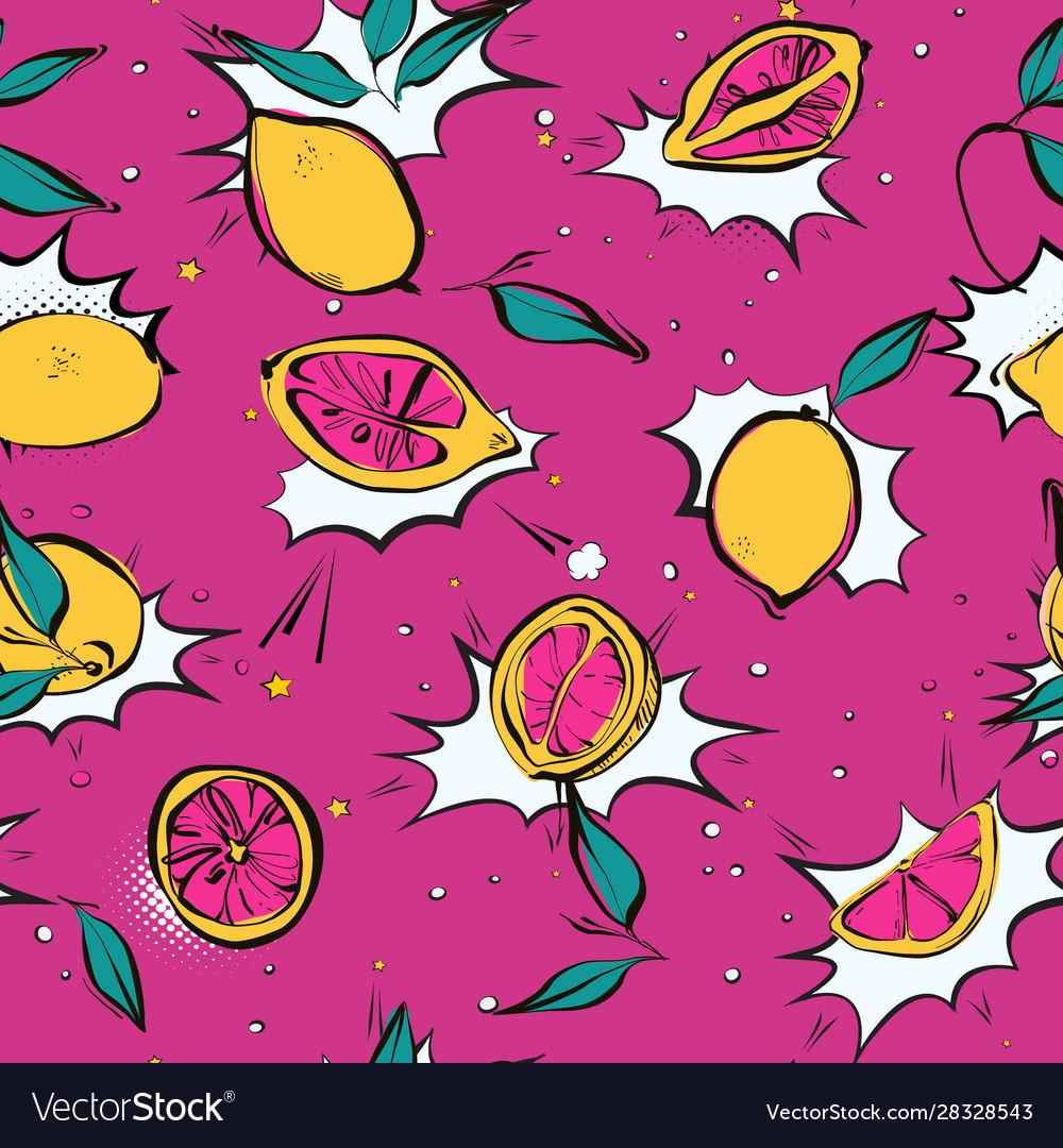 Lemon fresh pop art pattern modern juicy citrus