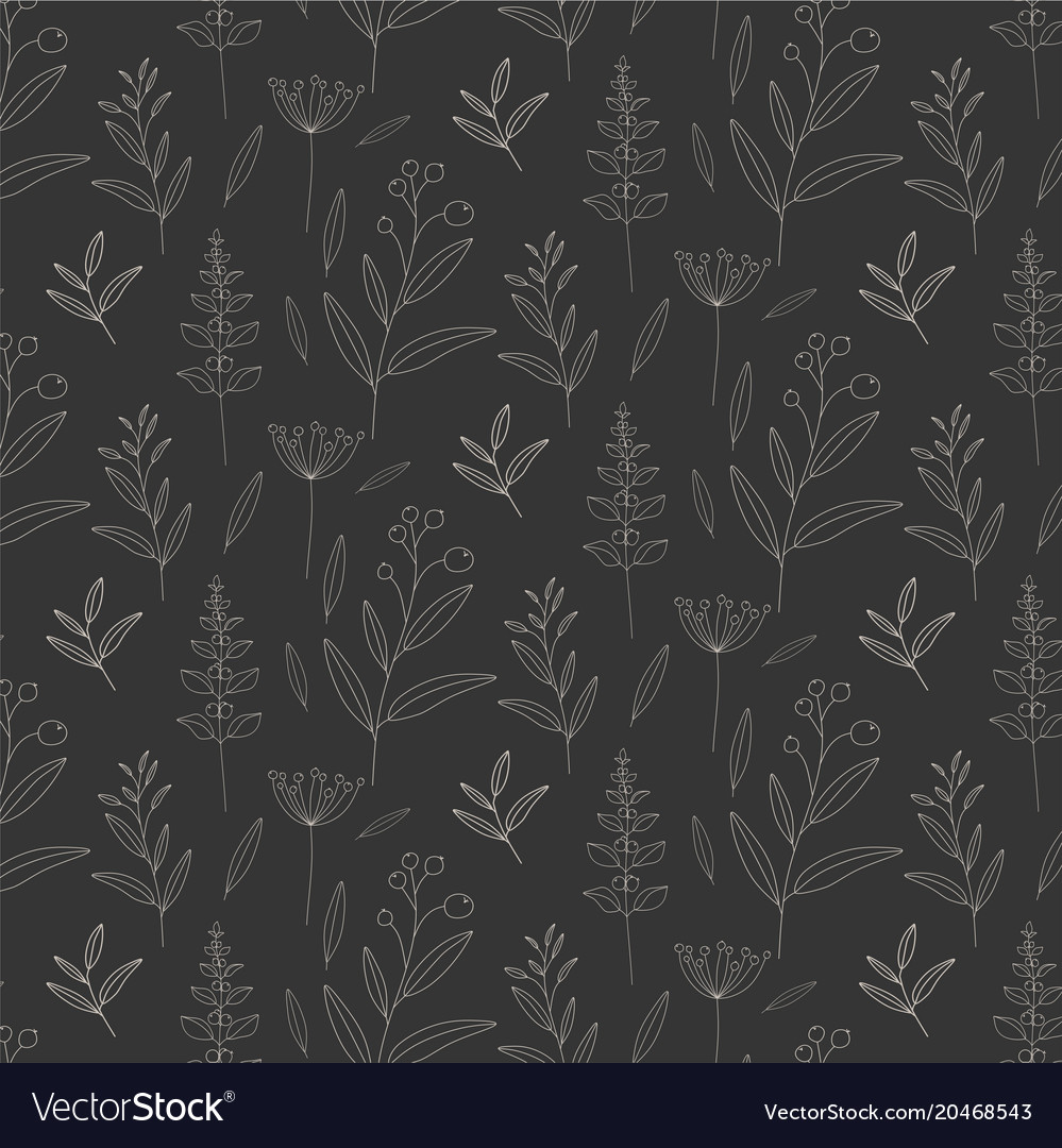 Monochrome floral pattern background vector image