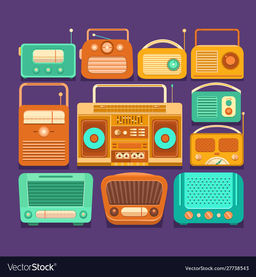 Retro tape recorders and radios