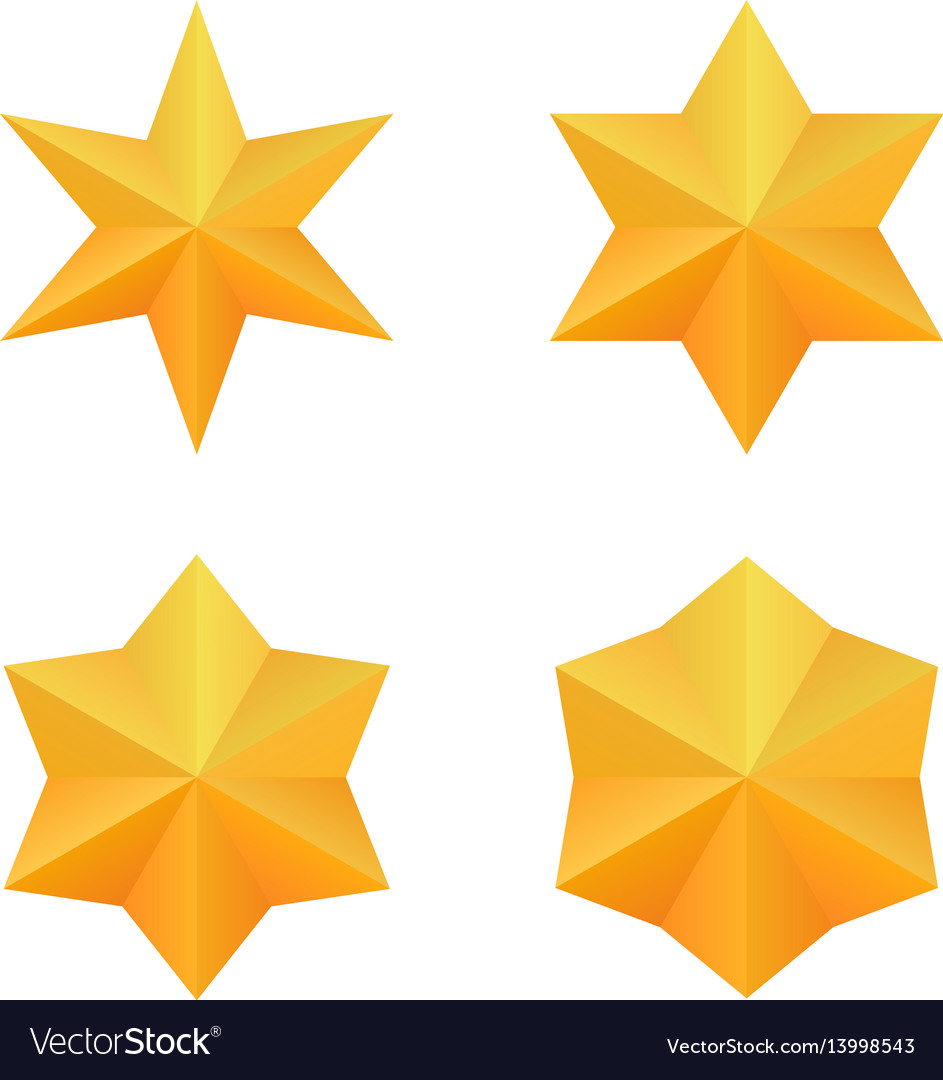 Set of four golden six point stars