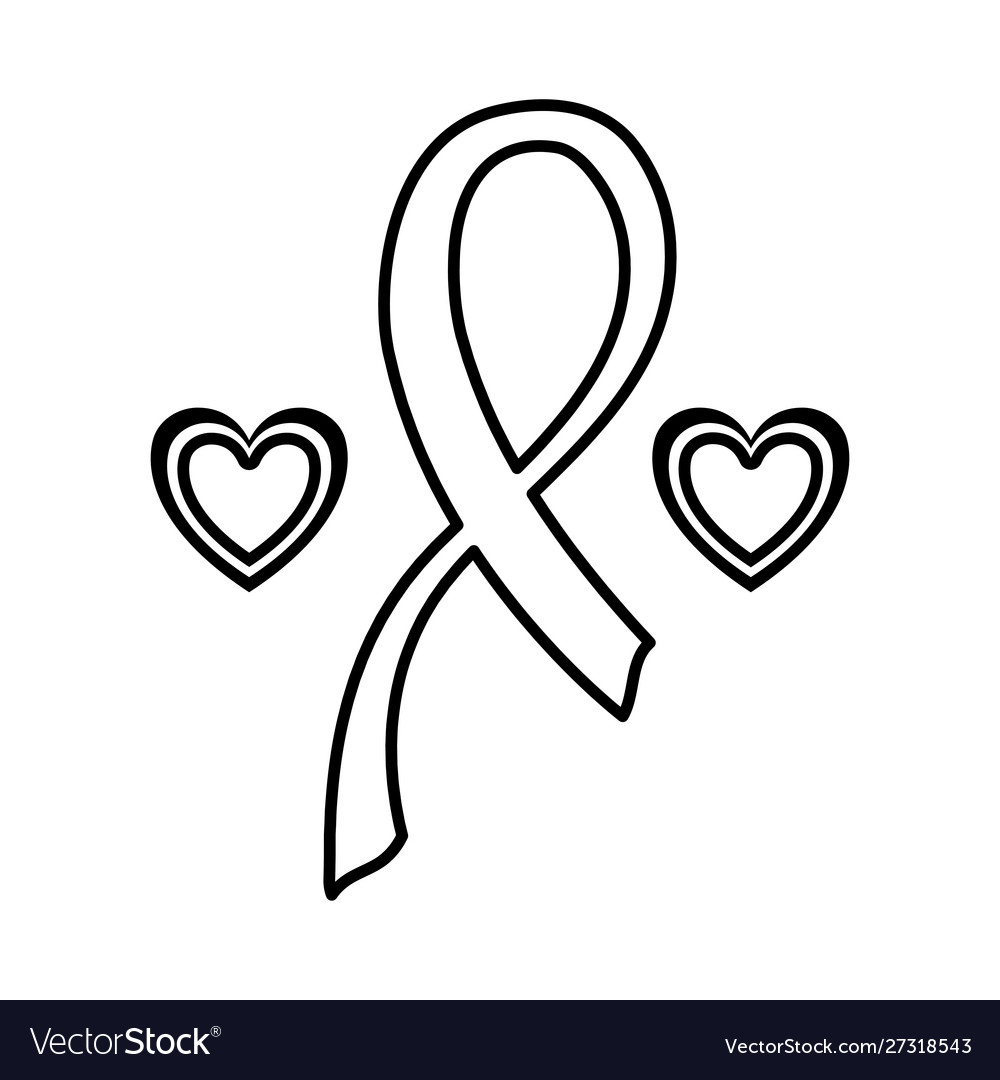 Silhouette Breast Cancer Ribbon With Heart On Vector Image