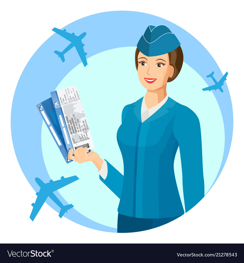Smiling stewardess with air passage in hands promo