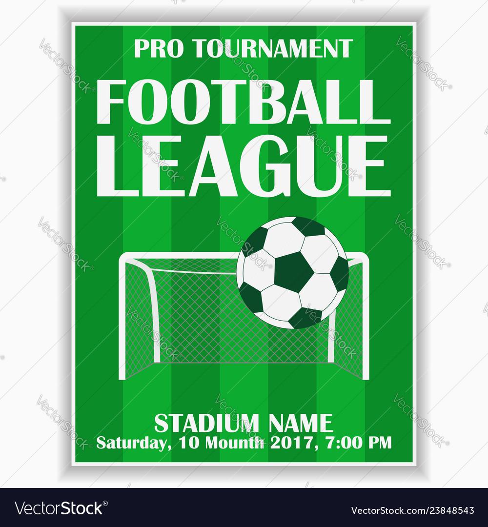 Soccer league poster football sport invitation